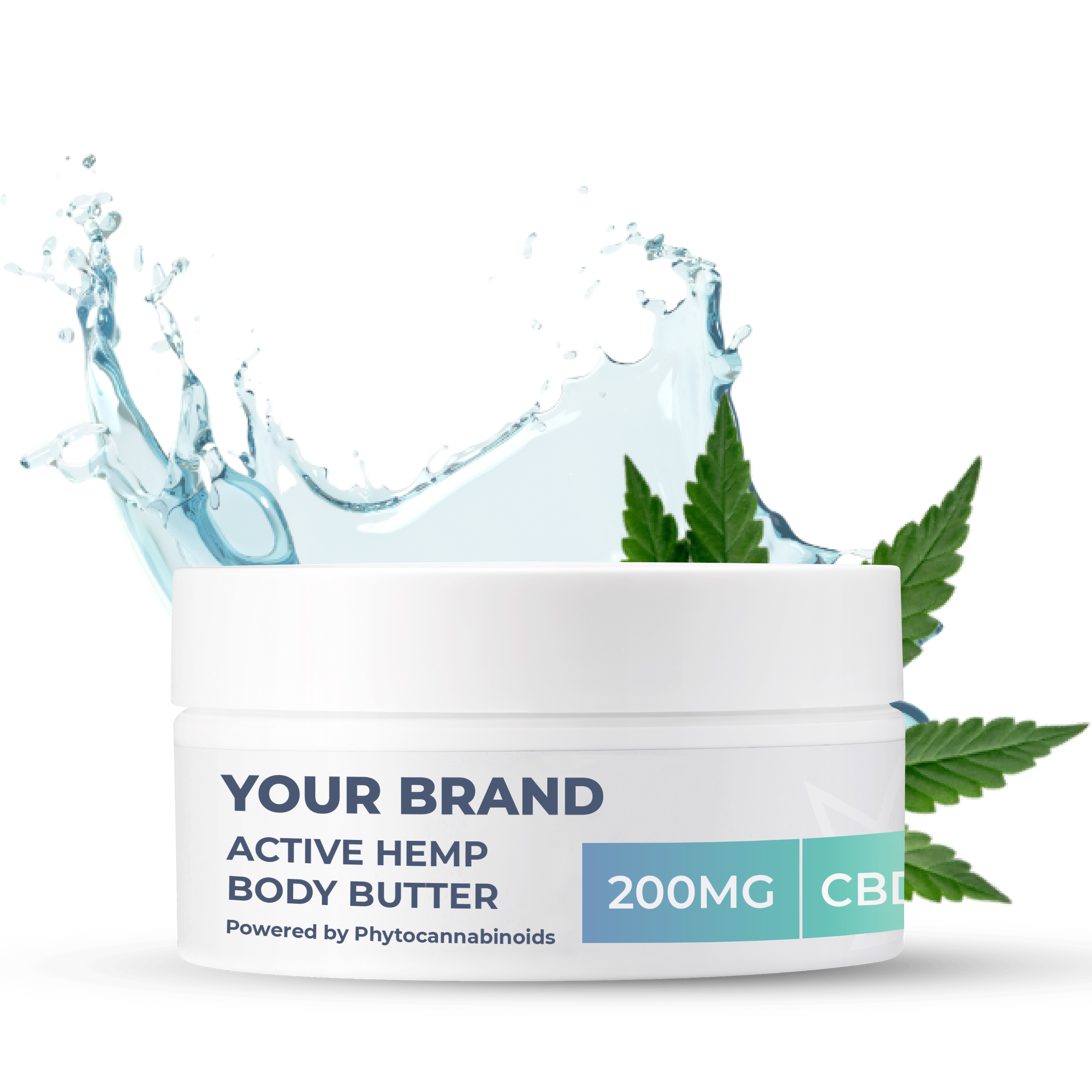 White & Private label Active Hemp CBD Body Butter supplied in a 100ml fully recyclable plastic pot