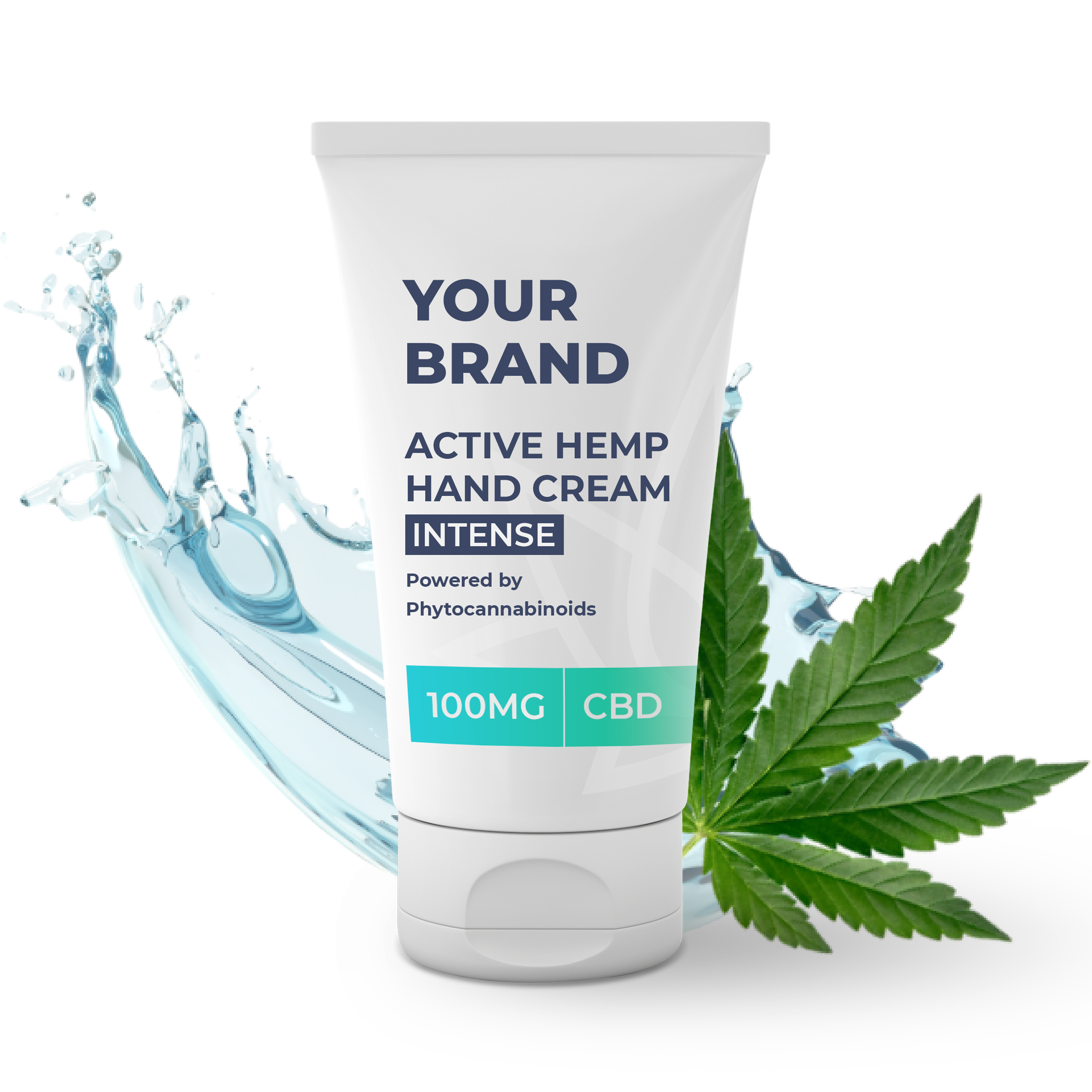 White & Private label Active Hemp CBD Hand Cream Intense supplied in a 50ml fully recyclable, twist top, pump dispensed, airless container