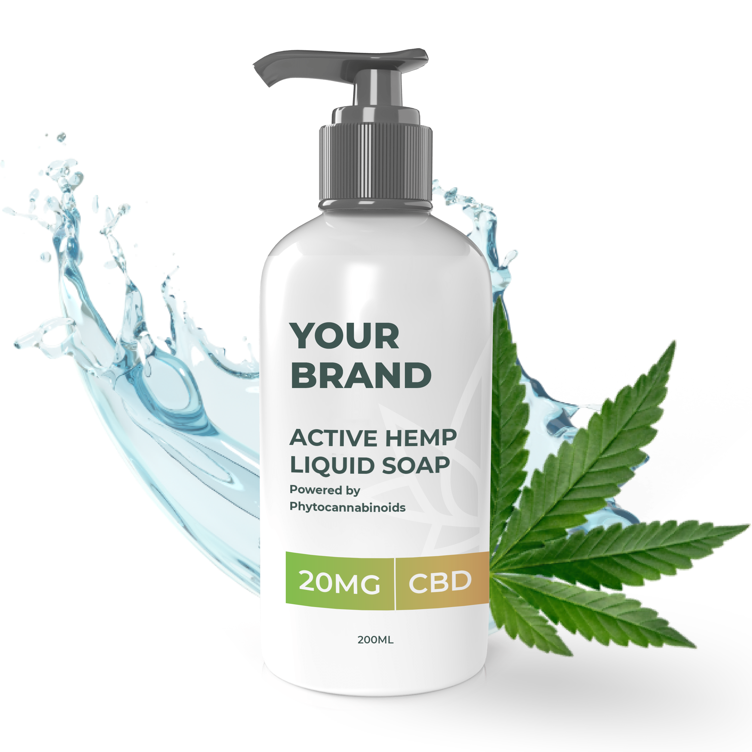 White & Private label Active Hemp CBD Liquid Soap supplied in a 200ml fully recyclable, plastic bottle with pump top