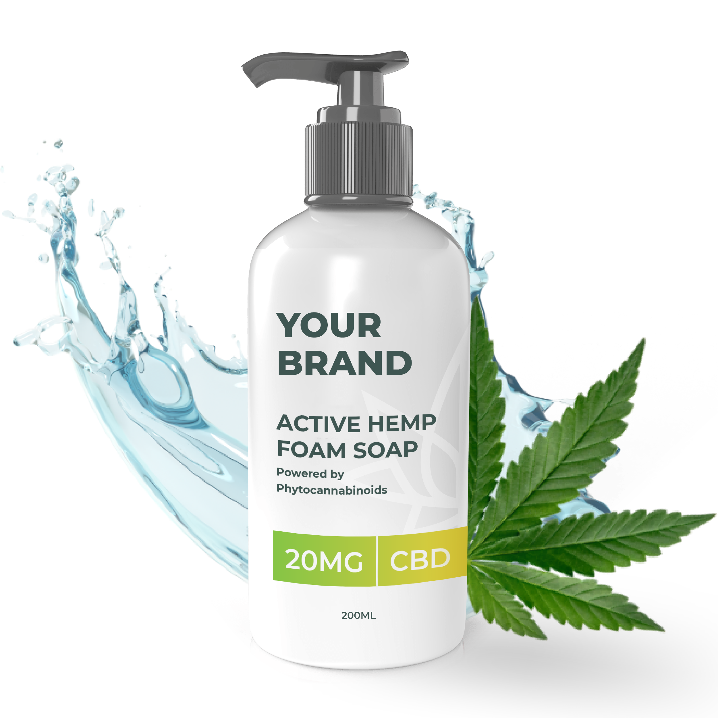 White & Private label Active Hemp CBD Foam Soap supplied in a Fully recyclable 20ml plastic bottle with a pump top