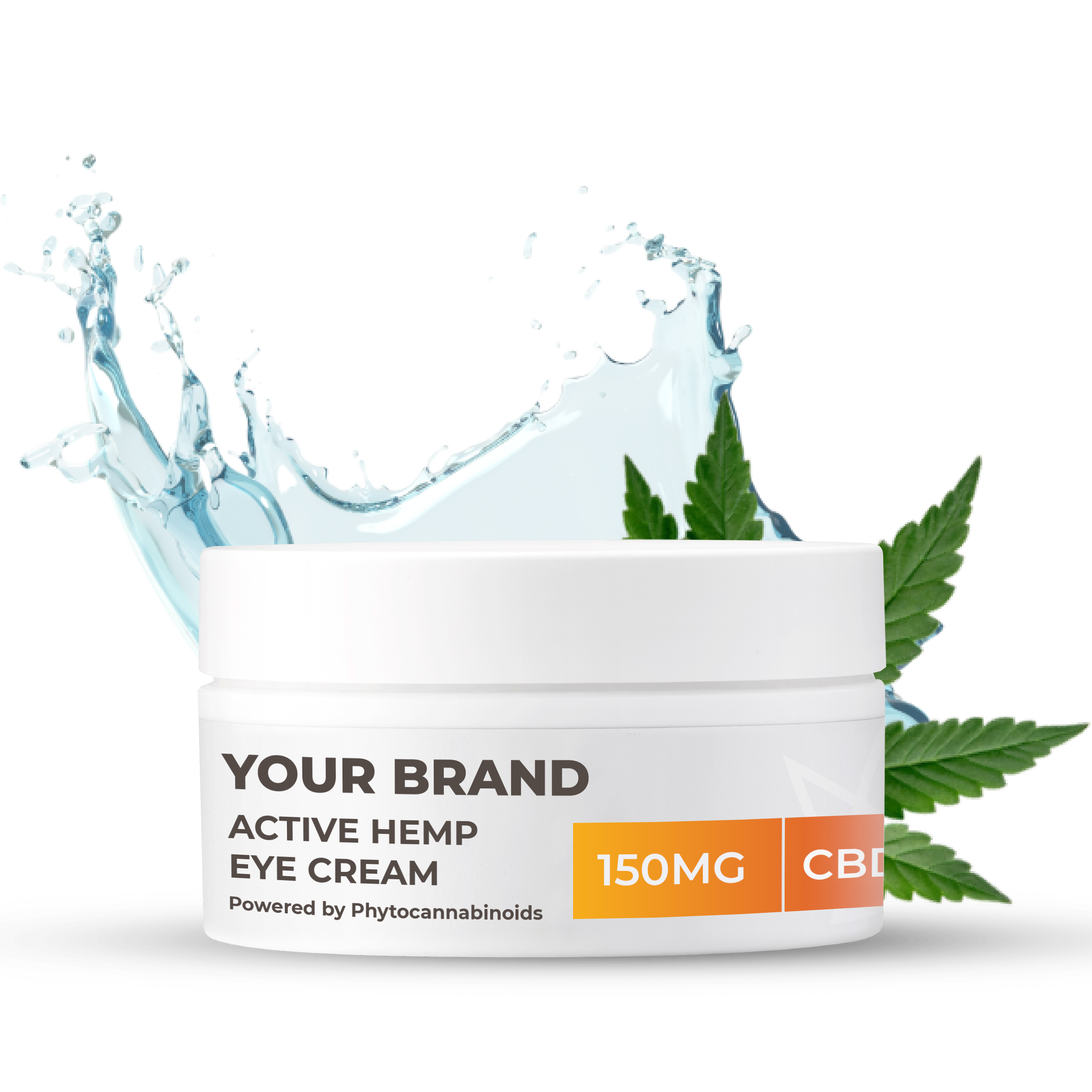 White & Private label Active Hemp CBD Eye Cream supplied in a 50ml fully recyclable, twist top, pump dispensed, airless container.