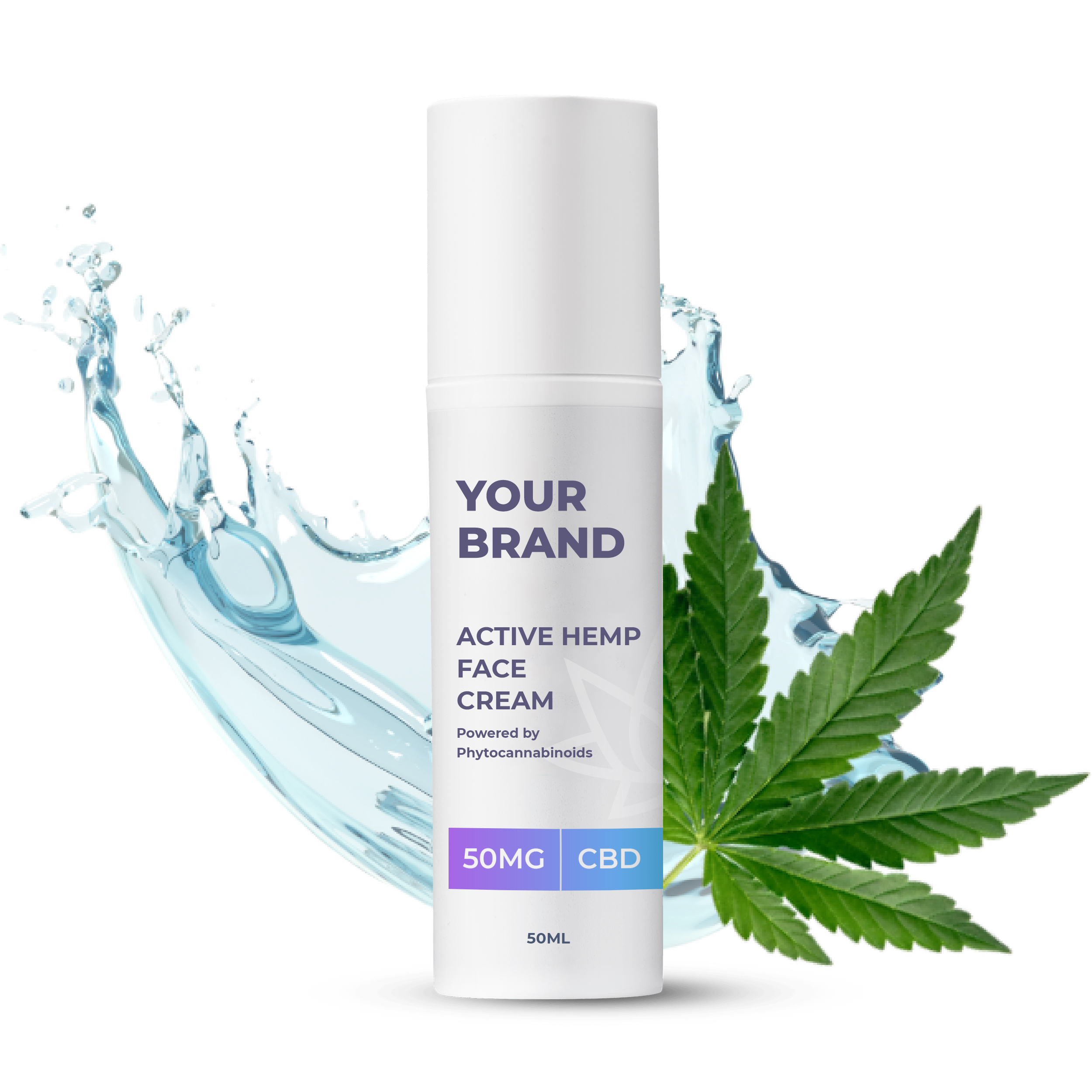 White & Private label Active Hemp CBD Conditioner supplied in a 250ml fully recyclable, twist top, pump dispensed, airless container