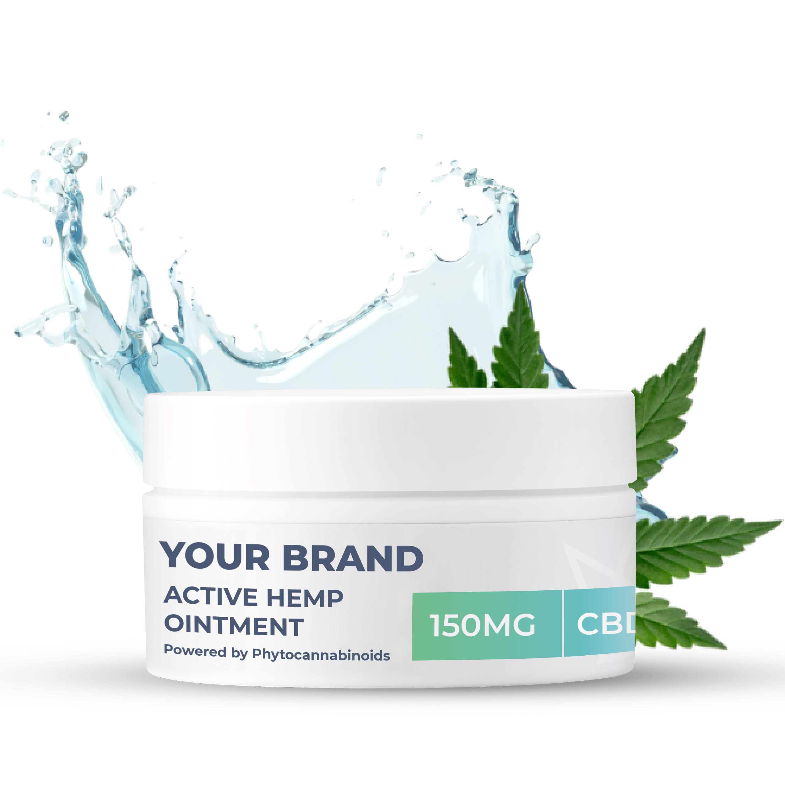 White & Private label Active Hemp CBD Ointment supplied in a 100ml fully recyclable plastic pot