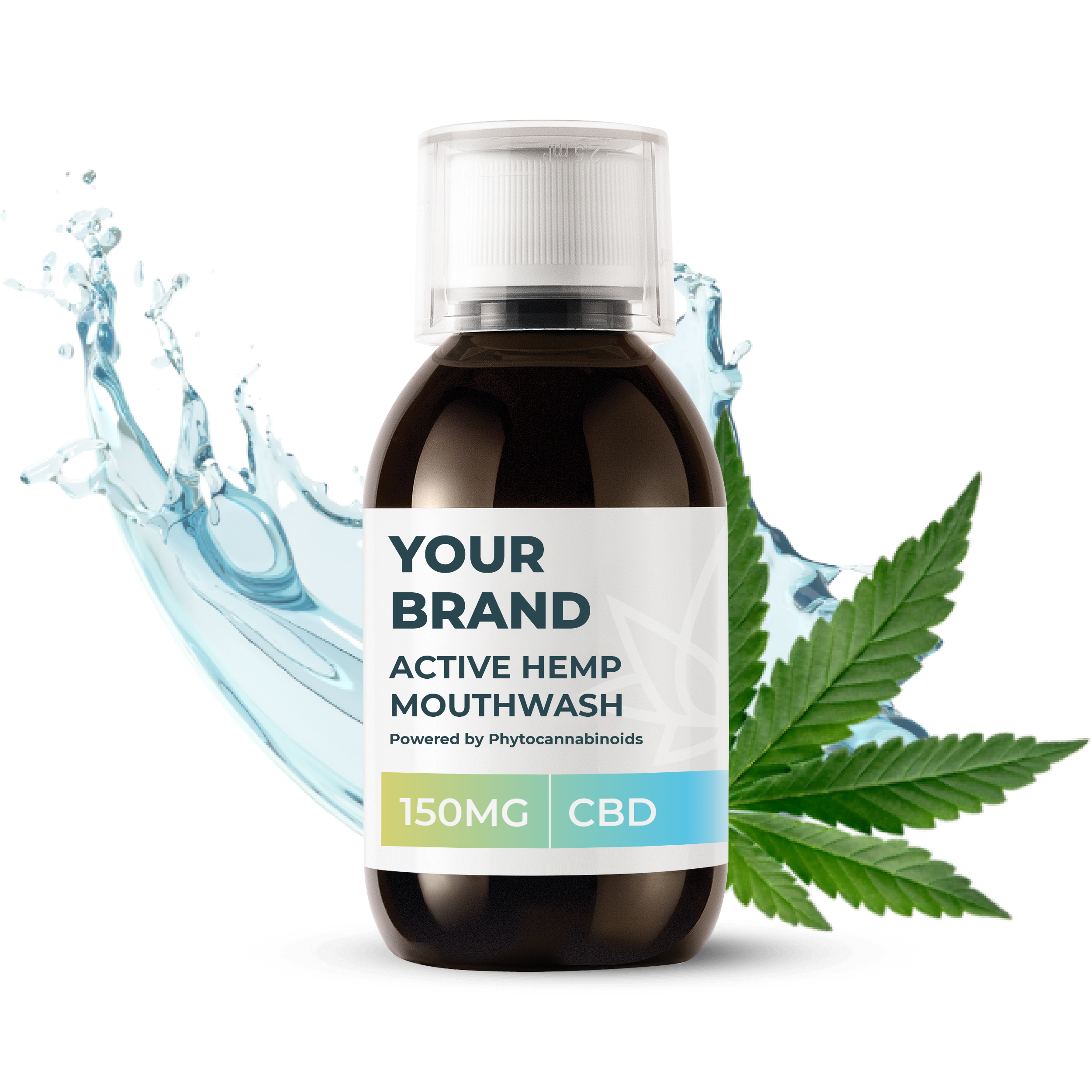 White & Private label Active Hemp CBD Essential Freshener supplied in a 150ml fully recyclable, screw top, medical-grade PET