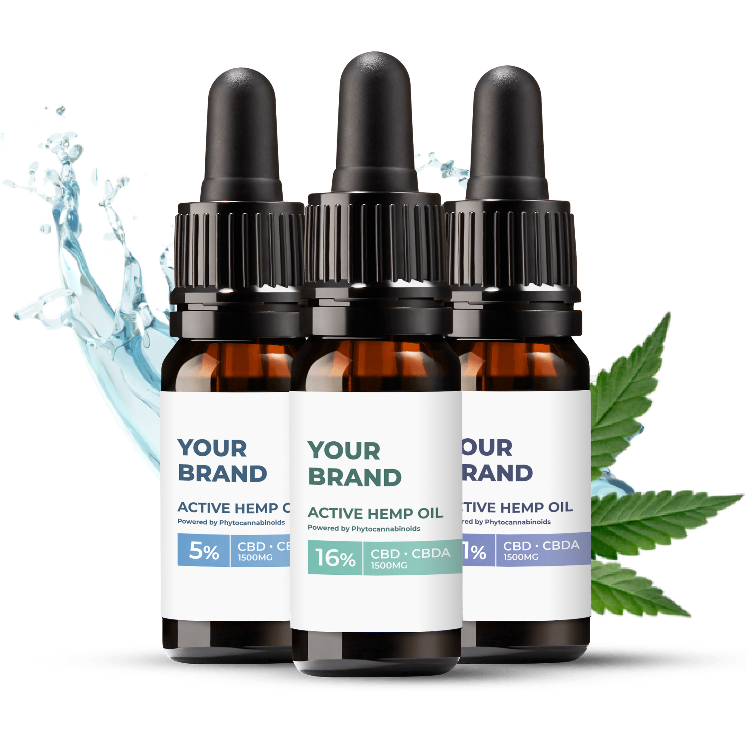 White & Private label Active Hemp CBD Oils supplied in a medical grade glass bottles available in 10, 20 or 30ml bottles
