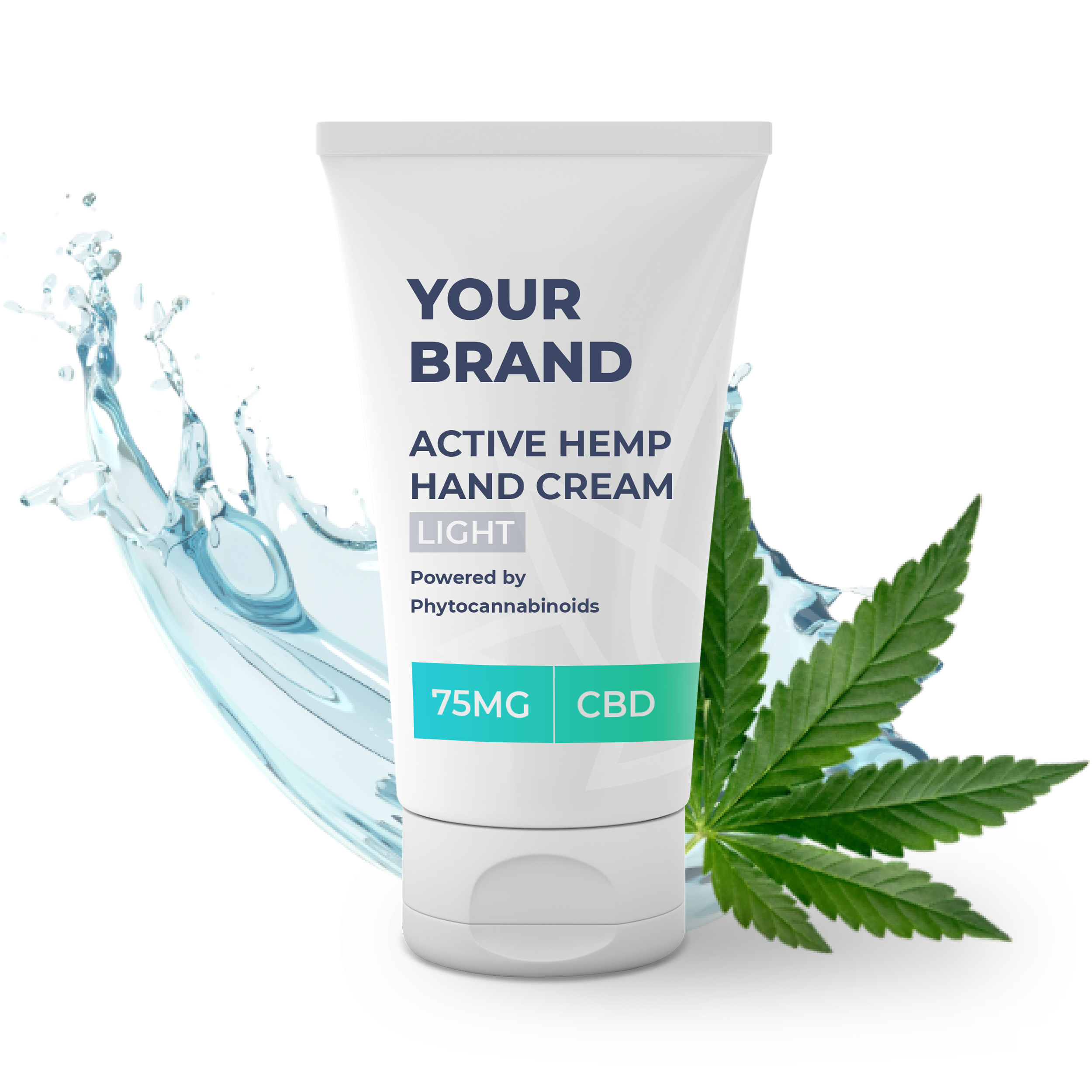 White & Private label Active Hemp CBD Hand Cream Light supplied in a 50ml fully recyclable, twist top, pump dispensed, airless container