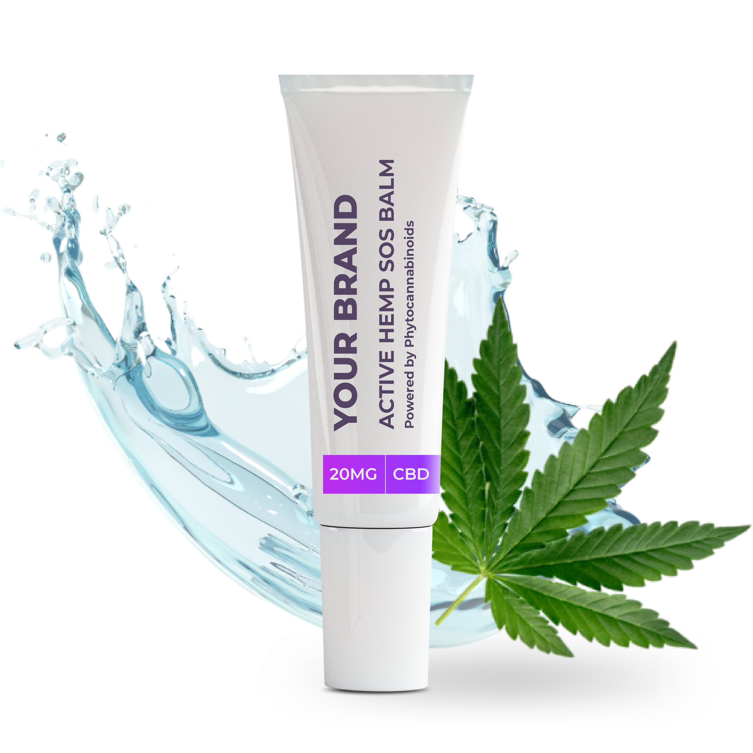 White & Private label Active Hemp CBD SOS Balm supplied in a 50ml fully recyclable, twist top, pump dispensed, airless container.