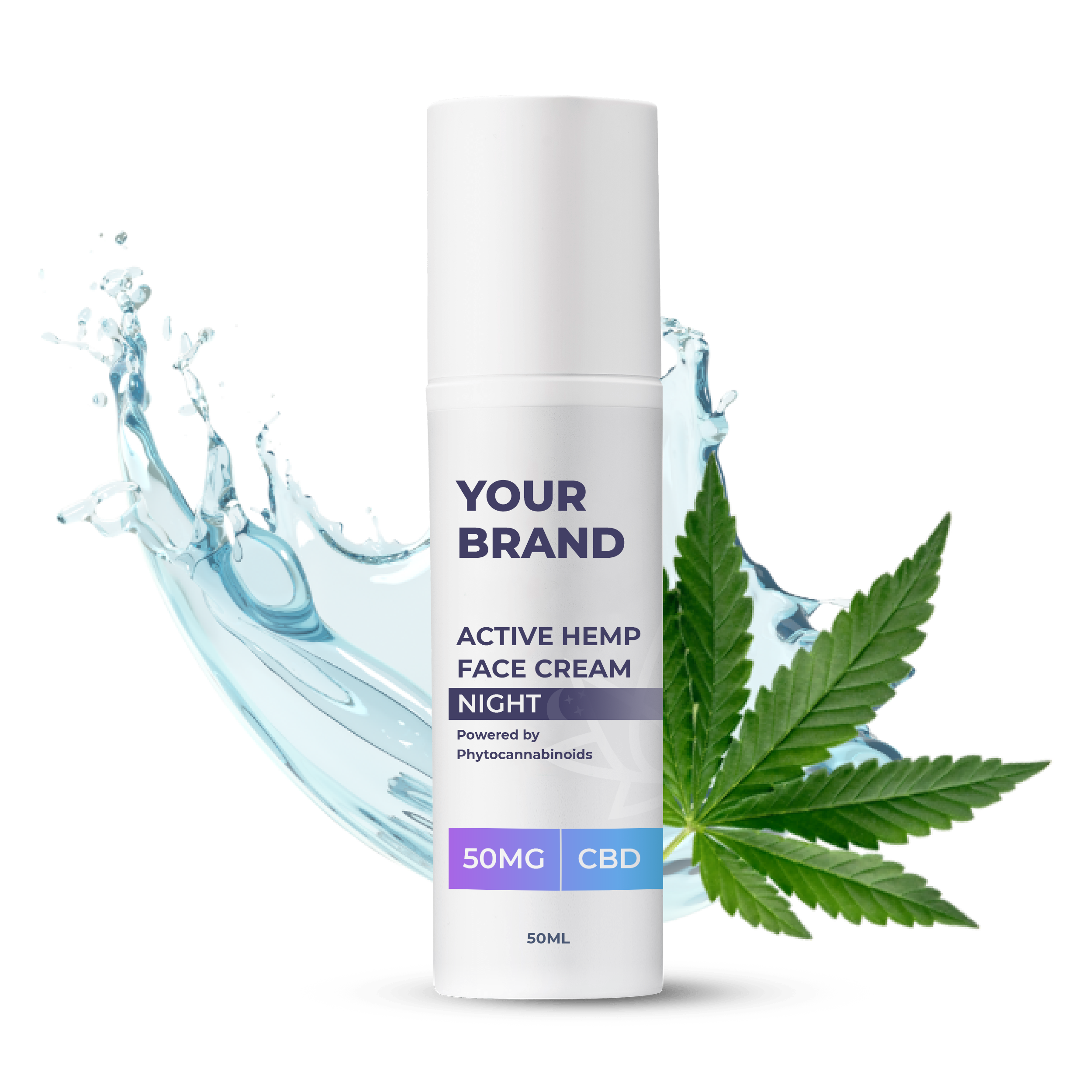 White & Private label Active Hemp CBD Night Cream supplied in a 50ml fully recyclable, twist top, pump dispensed, airless container