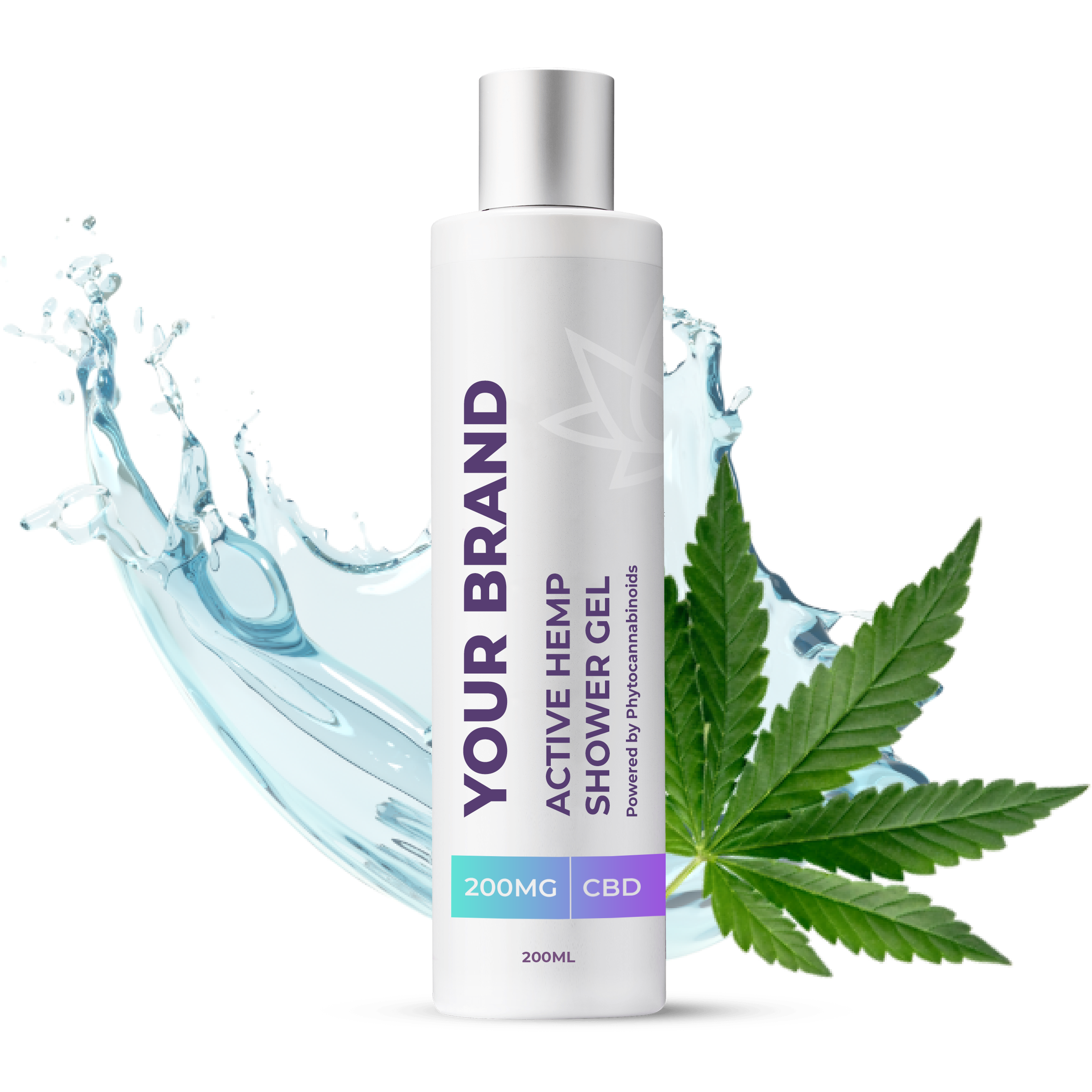 White & Private label Active Hemp CBD Shower Gel supplied in a 200ml Fully recyclable medical grade PET bottle