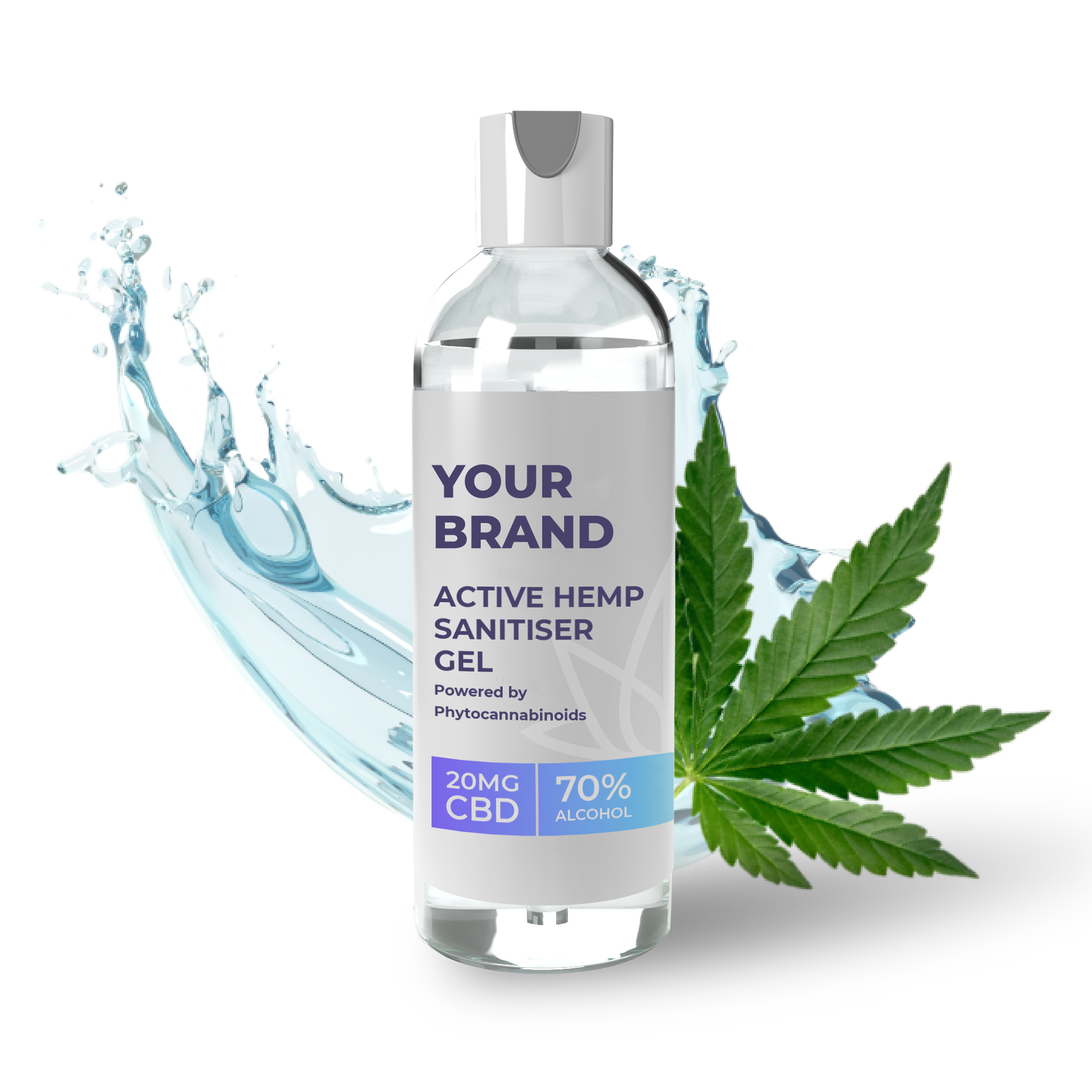 White & Private label Active Hemp CBD Sanitiser Gel supplied in a fully recyclable 100ml clear PET bottle with a fliptop