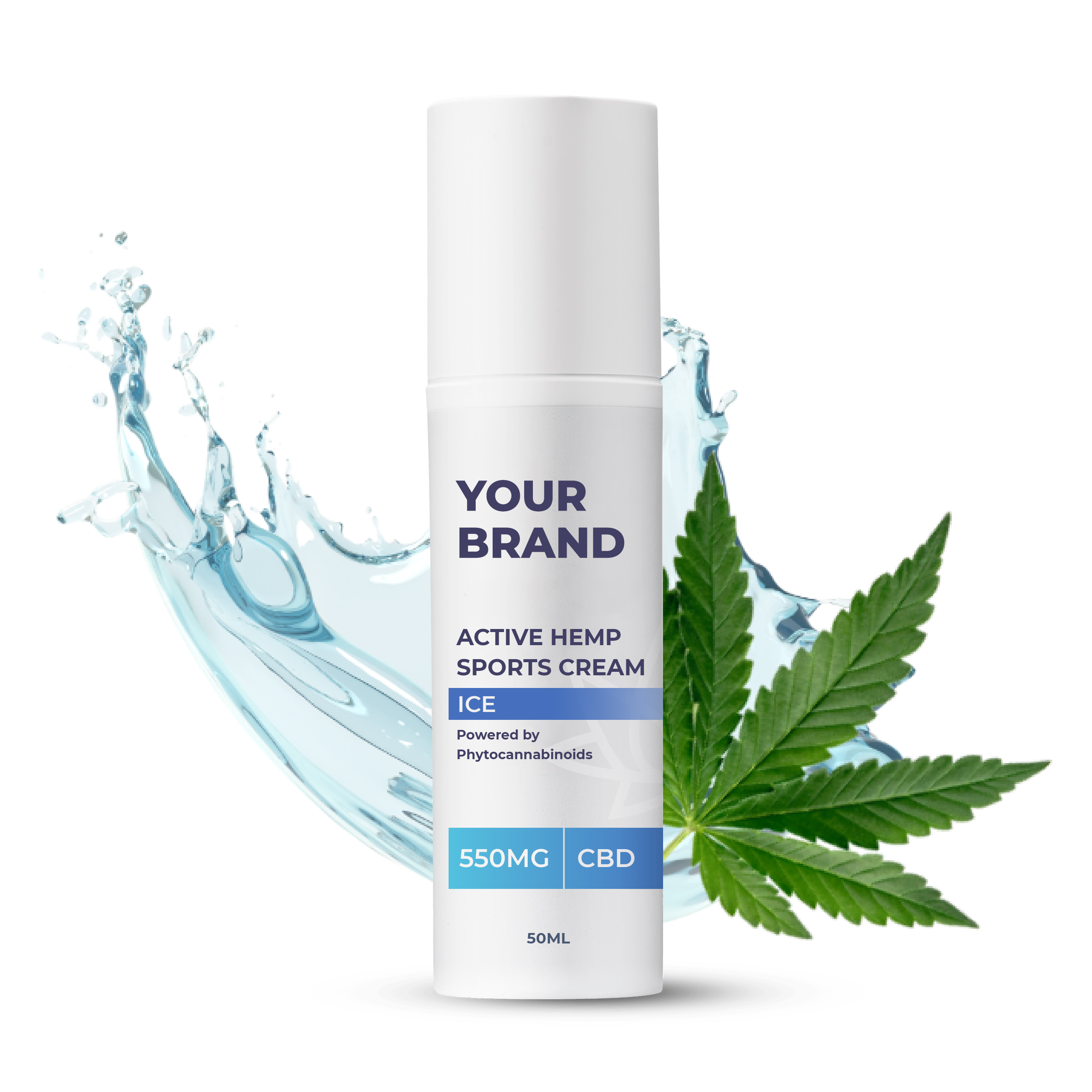 White & Private label Active Hemp CBD Face Cream supplied in a 50ml fully recyclable, twist top, pump dispensed, airless container